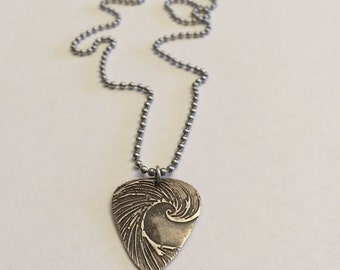 Silver Wave Guitar Pick Necklace for your Surfer Musician by SurfingSIlver