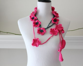 Crocheted Hot Pink Green, Blue Lariat, Necklace, Scarf, Scarflette