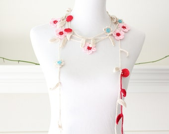 Crochet Pink, Ivory, Red Lariat, Scarf, Necklace, Scarflette