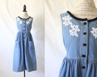 denim jumper dress / lace & velvet