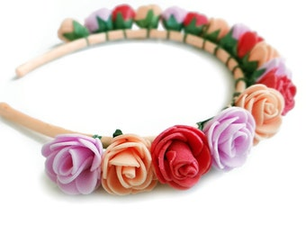 Rose Flower Headband, Floral Crown, Peach Red Pink Hair Piece