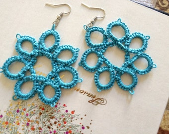 Tatted Turquoise Flower Earrings