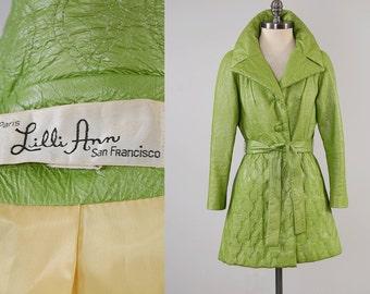 Vintage 60 LILLI ANN green vinyl MOD jacket / Quilted details and belted wrap waist / Vegan leather coat