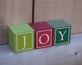 Christmas letter blocks, christmas block letters, holiday letter blocks, JOY, holiday decor, hostess gift, christmas decorations