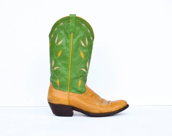 Vintage Polo Ralph Lauren Western 1990's Green & Tan Leather Classic Embroidered Flower Cowboy Boots Sz 10.5/11 US Womens 8.5/9 Mens