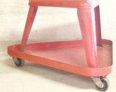 Mechanic Stool , Stool , Rolling Stool , Red Metal , Metal Stool , Shop Stool , Seating , Tool Tray , Stools , Metal , Industrial Chic ,Seat