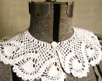 Crochet Collar, Crocheted Collar, Loose Collar, Sweater Collar, Dress Collar, Handmade, White, Cotton Collar, Feminine, Collars,Accessories