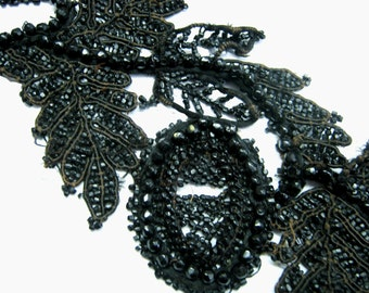 22 Inch Antique Victorian Black Jet Beaded and Woven Looped Cord Appliques  - Antique Black Jet Beaded Trim - 19th Century