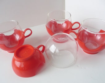Pryex Cups Glass with Mod Orange Holders Set of Four 1960's