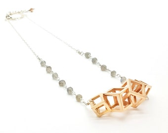 Repeating Cubes // Geometric Necklace // 3D Printed Steel Brass Silver Necklace // Contemporary Jewelry