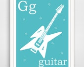 G is for Guitar, Instant Printable, Instant Download, Alphabet Art, Blue Nursery Decor, Baby Wall Art, Music Print