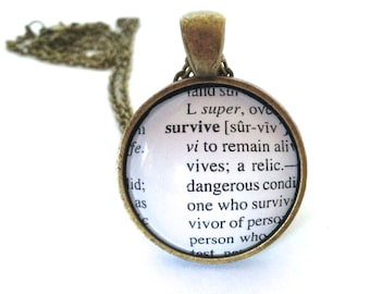 Survive Definition Necklace, Dictionary Necklace