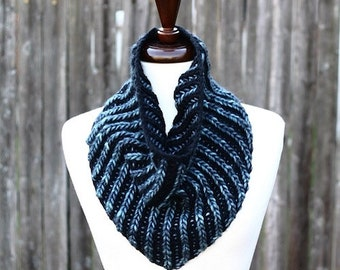 Brioche Bandana Cowl Knitting Pattern PDF instant download