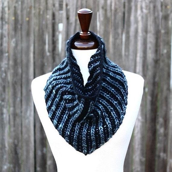 Free Knitting Patterns For Beginners Baby Blanket : Brioche Bandana Cowl Knitting Pattern PDF instant download
