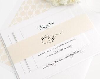 Neutral Wedding Invitation - Champagne, Gold - Timeless, Elegant, Traditional, Honeycomb - Timeless Elegance Wedding Invitation - Sample Set