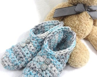 Womens Slippers in Blue and Grays  ~ Size Small to Medium Womens, Womens Gray House Shoes, Crochet Slippers for Women ~ Gift for Mom, Socks