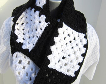 Granny Square Scarf, Black and White Winter Scarf, Crochet Infinity Scarf by Crocheted by Charlene