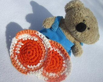 Kitchen Scrubbie Cotton and Nylon Tulle in Orange and White by Crocheted by Charlene, Pot Scrubber, Dish Scrubber, Hostess Gift, For Mom