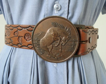 "1970s Brown Tooled Leather Belt with Large Brass Mustang Buckle ""JO"" - 35 to 39"" Waist"