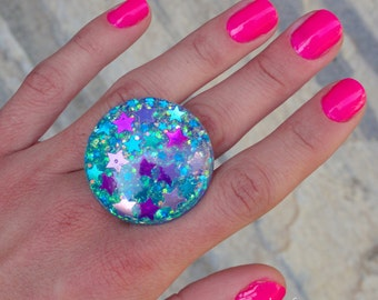 Turquoise Amethyst and Pink Stars Blue Opalescent Glitter Bubble Ring, Cotton Candy Confetti Stars Ring, Celestial Mermaid Kawaii Space Ring