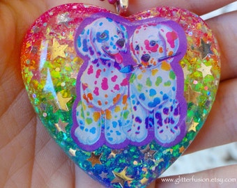 Vintage 90's Lisa Frank Spotty and Dotty Dalmatian Rainbow Heart Necklace, Opalescent Rainbow Resin Heart Pendant, Kawaii Fantasy Necklace