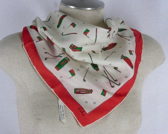 """Echo Golf Theme Scarf Pocket Square Off White Silk Red Border Hand Rolled Hems 17"""""""