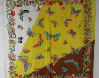 Vintage Butterfly Floral Scarf Silk Satin Yellow Brown Hand Rolled Hems
