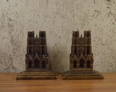 Vintage Bookends Cast Metal Reims Cathedral