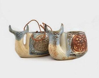 Vintage Snail Planters Ceramic Pots Japan x 2