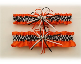 Orange Satin Wedding Garter Set with Checkered Flag Deco  (Your Choice, Single or Set)