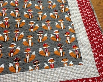 Sailor Fox Baby Crib Quilt -- Andie Hanna Fabulous Foxes-- red, grey, white