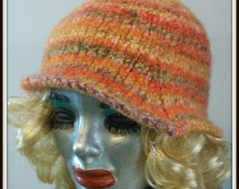 HAT WOMAN KNITTED Felted Flapper Style  Retro