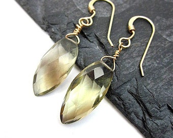 Smoky Lemon Quartz Earrings -- Marquise Gemstone Earrings -- Yellow Gem Earrings -- Gold and Yellow Earrings -- Lemon Quartz Earrings