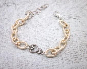 Cream Bracelet -- Heart Charm Bracelet -- Cream & Silver Bracelet -- Silk Chain Bracelet -- Cloth Bracelet -- Silk Bracelet -Mantra Bracelet