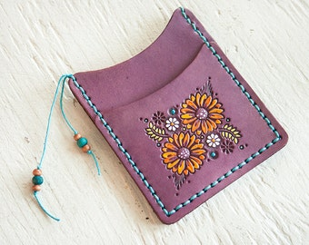 Custom Leather Slim Card Wallet - Sunflowers and Daisies - Pick your thread color - leather business card holder - Wildflowers