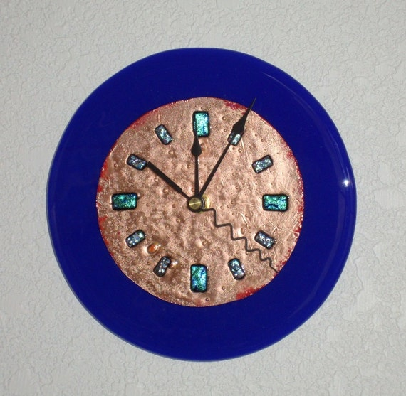 Fused glass copper wall clock blue round 7 inches for Fused glass wall clocks
