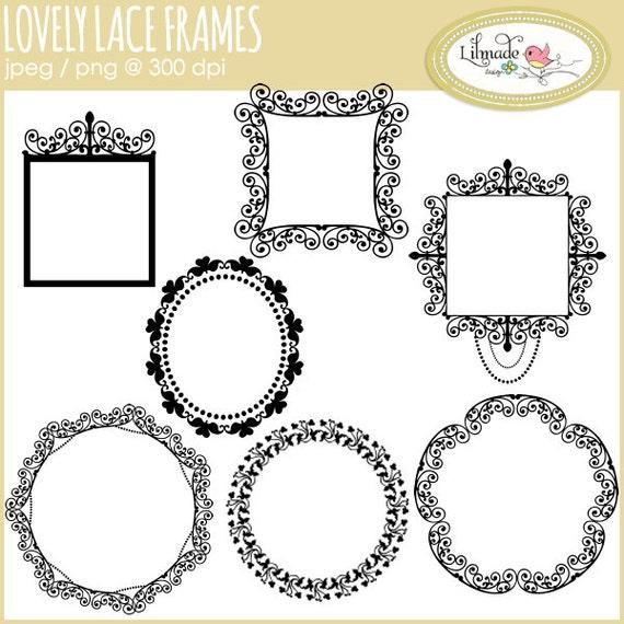 Digital frames clip art, digital lace frames, lace clip art, digital ...