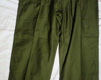 Rare Vtg 60s Vietnam Era US Military Issue Og 107 Cotton Button Fly 44 X 30 Class 1 Type 1  Utility Fatigue Pants (20 % DISCOUNT APPLIED)