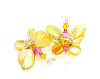 Butterfly Earrings, Lampwork Earrings, Glass Bead Earrings, Yellow Earrings, Nature Earrings, Butterfly Jewelry, Glass Earrings
