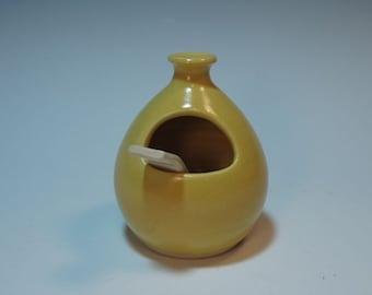 Yellow Salt Cellar with White Ceramic Spoon - Handmade - In Stock