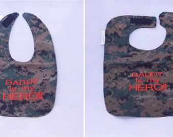 My Marine Daddy is My Hero - Baby Bib - Small OR Large - FREE Shipping to U.S.