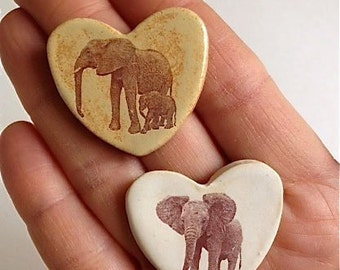 Two Magnets -  Elephant Hearts - Enkikwei & Emily and Emma