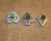 Set of 3 Vintage Green Handled Card Cookie Cutters, Vintage Kitchen, D177