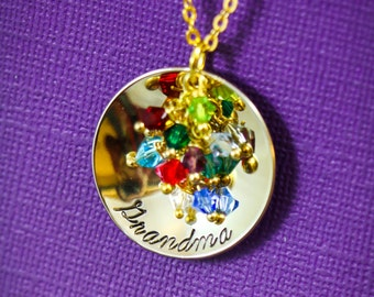 Personalized Grandma Gift • Grandmother Necklace • Gold Grandma Necklace • Gold Birthstone Jewelry • Grandkids Gift • Large Family Necklace
