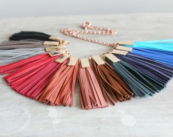 Leather Tassel Lariat Necklace, Fringe Necklace, Rose Gold Chain Necklace, Genuine Suede Leather Tassels