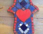 Valentine's Gift, Home Decor,  Hamsa, Mosaic Decor, Made in Israel, Heart Red, Wall Decor, Free Shipping