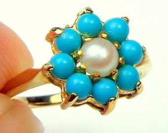 Sz 5, 9K Yellow Gold, Turquoise and Cultured Pearl, Ring, Late Georgian, Early Victorian, Vintage Gold Ring, Antique UK Estate Jewelry
