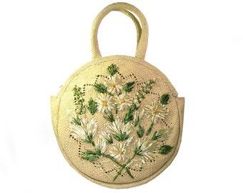 Vintage Large Disc Summer Raffia Straw Floral Purse