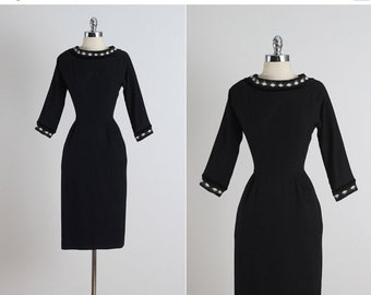 30% SALE Georgia Wells . vintage 1950s dress . vintage wool dress . 5346