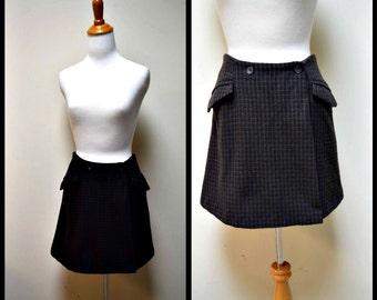 VINTAGE Barneys New York Brown Slate Blue Wool Check Wrap Front Mini Skirt Size 40/XS